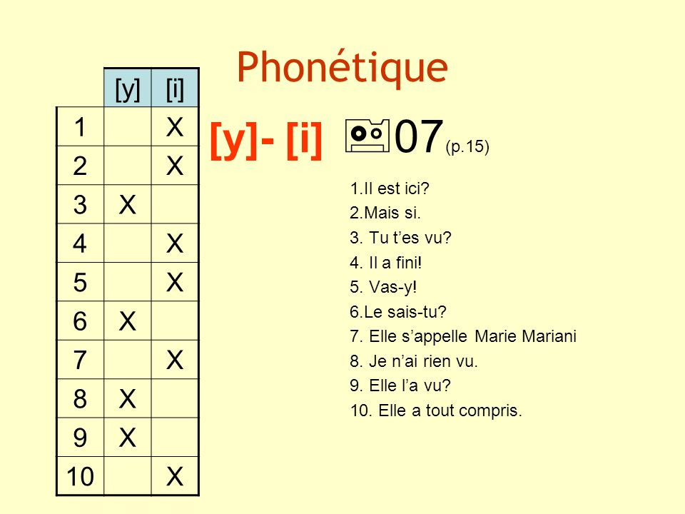 Phonétique [y]- [i] 07(p.15)